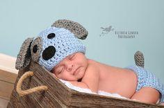 Crochet Newborn baby boy Puppy Hat and Diaper Cover, PHOTO PROP, Puppy hat and diaper cover set