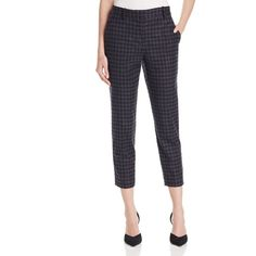 Theory Treeca 2 Printed Crop Pants (4.886.985 IDR) ❤ liked on Polyvore featuring pants, capris, black multi, tapered pants, tartan trousers, cropped trousers, theory trousers and theory pants