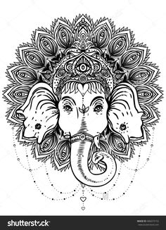 Hindu Lord Ganesha over ornate mandala pattern. Vector illustration. Vintage decorative. Hand drawn paisley background. Indian motifs. Tattoo, yoga, spirituality. Coloring book pages for adults