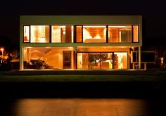 Evening Lighting, Modern House in Buenos Aires, Argentina