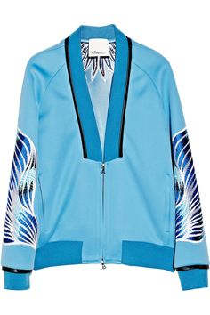 3.1 Phillip LimEmbroidered techno jersey bomber jacket