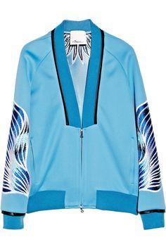 3.1 Phillip Lim|Embroidered techno jersey bomber jacket|NET-A-PORTER.COM