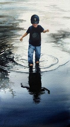 "Jill Poyerd Watercolors - Watercolor Figures ""reflections"""