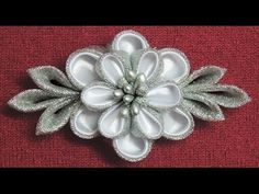 DIY kanzashi flower,wedding kanzashi flower accessoire tutorial, flores de cinta - YouTube