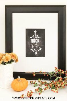 Trick or Treat Free Chalkboard Printable | DIY Wall Art from onsuttonplace.com