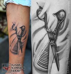 Barber Life Scissor Comb Tattoo Danish Tattooz House