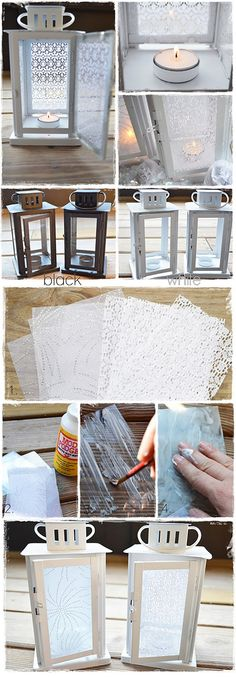 Lanterns - Diffusing Light with Lace & Fabric. Full Step-by-Step Tutorial using spray paint, mod podge, craft lace and sparkly organza material.-Another cute take on lanterns! Diy Lace Lanterns, Craft Projects, Projects To Try, Diy And Crafts, Arts And Crafts, Mod Podge Crafts, Noel Christmas, Diy Art, Chandeliers