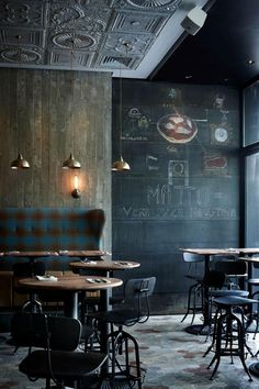 Atmospheric industrial chic restaurant cafe