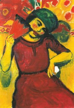 Max PECHSTEIN  Young Woman With Red Fan (c.1910)