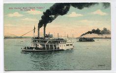 Mark Twain City Harbor Ferry Boat St Louis Missouri 1910c postcard