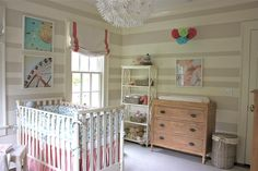 kbulms: Sweet baby girl nursery with gray and ivory striped walls, and coral pink accents.  Soft ...
