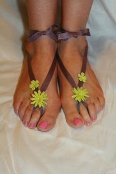 Purple With Green Flowers Barefoot Sandals by AppalachianArtisans, $30.00