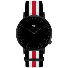 A round black case with classically curved lugs,elegant hue, the black hands match the case colors and underscore their prominent design,color-coordinated NATO strap,inimitable and upscale watch.