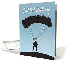 Silhouette Skydiver with Parachute for Good Luck card greetingcarduniverse.com/jjbdesigns