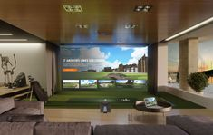 The Best Golf Simulator for your home or business. A complete Indoor Golf Simulator Solution with Putting and Impact Location, works indoor and outdoor. Home Golf Simulator, Indoor Golf Simulator, Man Cave With Golf Simulator, Golf Man Cave, Indoor Putting Green, Golf Mats, Golf Room, Golf Hotel, Golf Instructors