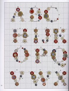 Cross-stitch Button Alphabet, part color chart on pattern chart part Gallery.ru / Фото - 12 - by ann Cross Stitch Letters, Cross Stitch Love, Cross Stitch Charts, Cross Stitch Designs, Embroidery Alphabet, Embroidery Patterns, Stitch Patterns, Cross Stitching, Cross Stitch Embroidery