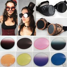 Steampunk Cyber Goggles w/ Colored Lens Punk Biker Gothic Rave Vintage Cosplay Starting @ $11.50
