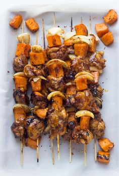 Chicken chunks + tender sweet potato kebabs in a spicy rub and sweet glaze. Grilled until melt in your mouth juicy good. Such an easy weeknight dinner! | @littlebroken