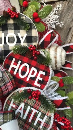 Buffalo Plaid Christmas by Ba Bam Wreaths Christmas Wreath, Christmas Swag, Buffalo Plaid Christmas Wreaths For Front Door, Christmas Swags, Holiday Wreaths, Rustic Christmas, Christmas Crafts, Holiday Decor, Cheap Christmas, Buffalo Plaid Christmas Ornaments, Homemade Christmas Wreaths