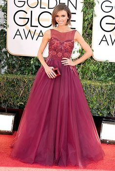 Golden Globes 2014: Giuliana Rancic looked like a princess in Lorena Sarbu. This gown is beautiful on her! I love the color and the embellishments on the bodice!