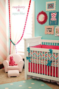 Love this rasberry & aqua nursery! Other nursery themes from Cream Life Blog!