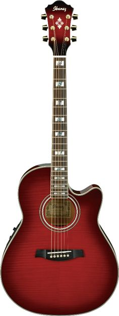 Ibanez AEF30ETHS Acoustic Guitar - See acoustic guitar ratings and reviews at: http://acousticguitarratingsandreviews.downloadplrarticles.net/ red
