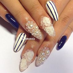 #nails #nailart #instanails #kawaii Simple, pretty design for all occasions. You can't go wrong with pearls and embossed roses