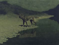 Moonlight, Wolf by Frederic Remington, 1909 ca.
