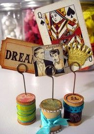 use old spools to display vintage postcards!