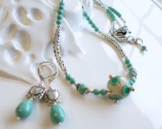 Turquoise and Cream Lampwork Necklace With Swarovski Pearls - Earrings Included by hhjewelrydesigns on Etsy