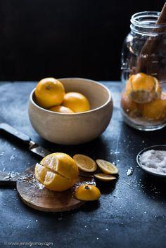 Preserved Meyer lemons on a zinc counter Photo by Jennifer May www.jennifermay.com