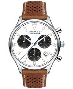 Movado Men's Swiss Chronograph Heritage Series Calendoplan Cognac Leather Strap Watch 43mm 3650008
