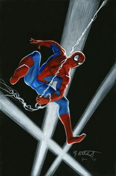 Spider-Man Illustration , in Turtles Fan's Greg Hildebrandt Comic Art Gallery Room Best Hero, Man Illustration, White Pencil, Marvel, Spider Verse, Black Paper, Pin Up Art, Amazing Spider, Beautiful Paintings
