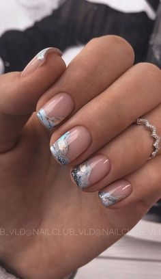 Cute Nail Art Design Ideas With Pretty & Creative Details : Nude pink nails with marble tips