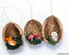 Eule Ornament set rustikale Weihnachts-Dekorationen von Velwoo