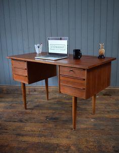 Vintage Danish Mid Century Teak Double Pedestal Desk - Retro - CAN DELIVER