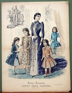 Very cute girls' ensembles from Ladies Treasury, October 1889 1880s Fashion, Edwardian Fashion, Vintage Fashion, Paris Fashion, Fashion Photo, Kids Fashion, Women's Fashion, Historical Costume, Historical Clothing