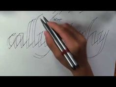 How to do a Calligraphy with normal pens Pencil Calligraphy, Calligraphy Video, Calligraphy Tutorial, How To Write Calligraphy, Calligraphy Alphabet, Modern Calligraphy, Calligraphy Course, How To Do Caligraphy, Bubble Drawing