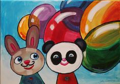 By: Satu Laaninen A painting for a baby: balloons, bunny and a panda. My Works, Yoshi, Panda, Balloons, Bunny, Paintings, Fictional Characters, Globes, Cute Bunny