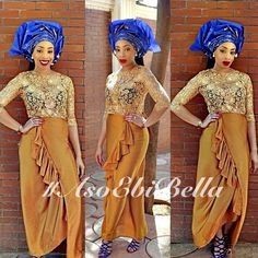 Gold Lace Blouse with Brown Wrapper & Blue 7 Gold Gele