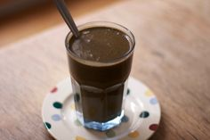 Chocolate detox drink Shrink Mummy Shake Recipe Beverages, Breakfast and Brunch with bananas, barley, oatmeal, cocoa powder, oat milk, agave nectar