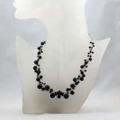 Chunky black onyx crochet necklace handmade anni designs, $25.95