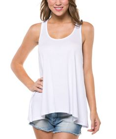 Another great find on #zulily! White Plunge Racerback Tank by Magic Fit #zulilyfinds