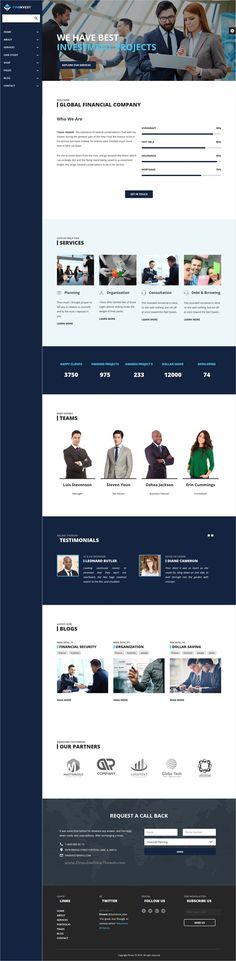 Finvest is wonderful #bootstrap #template  for Business, #consultancy, Consulting, #Corporate, Finance, Investment, Insurance, Accountant companies website with 6+ unique homepage layouts download now➩ https://themeforest.net/item/finvest-business-consultancy-finance-investment-template/17278355?ref=Datasata