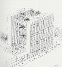 Walter Segal, Hanging Gardens, Hemel Hampstead, 1955. (From: 'Under-construction taxonomical archive of experimental utopianism and paper architectures')