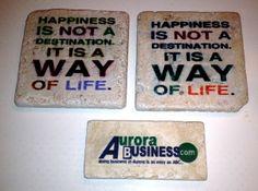 Happy sayings and custom business logos imprinted onto tiles.