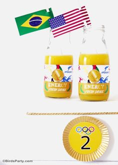 Olympics inspired energy drinks for a sporty birthday party or event!
