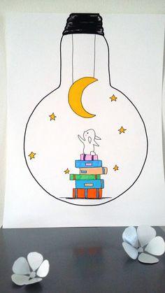 """Affiche Illustration ampoule """"Pour toi j'irais décrocher la lune"""" : Affiches, illustrations, posters par stefe-reve-en-feutrine"""