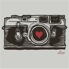 Camera love. Photography Camera, Vintage Photography, Photography Tricks, Leica, Camera Drawing, Winter Nail Art, Love Stickers, Lomography, Vintage Cameras