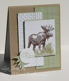 """By Lisa Johansen. I like the layout. Uses stamp from Stampin' Up's """"Walk in the Wild."""""""